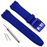 Sostituzione impermeabile in silicone orologio da polso Watch Band per Swatch (17 MM 19 mm 20 mm) (19 MM,Blu scuro)