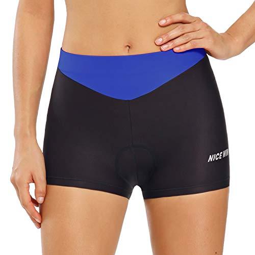 Pantaloncini da donna da ciclismo o per andare a cavallo, a vita alta, imbottiti - Blu - Medium