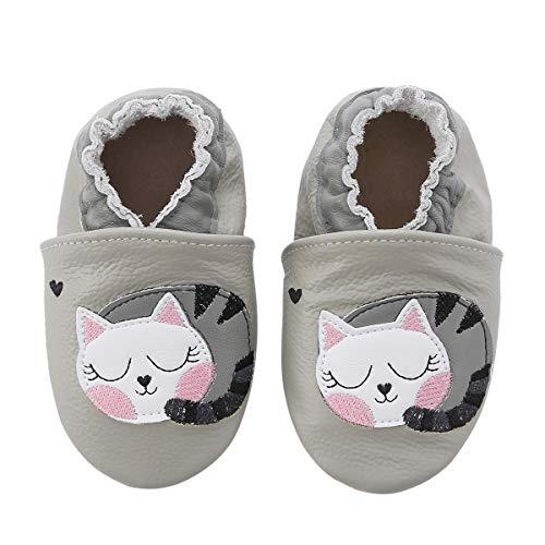 koshine Chausson Cuir Souple Bébé Chaussures Enfant Dessin Animé Fille Garçon 0-24 Mois (6-12 Mois, Chat)