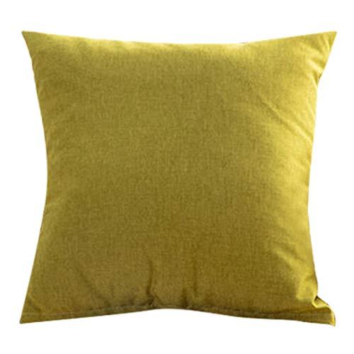 Tiffasha Funda de Almohada-Funda de Almohada cómoda de Lino de algodón de Color Puro Funda de Almohada Decorativa para Uso doméstico (sin núcleo de Almohada)(Amarillo)