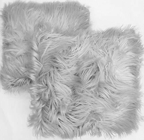 Cushion Cover Silver Grey Faux Fur Mohair Shaggy Mongolian Look Pillow Case Throw 18' x 18' (45 cm x 45 cm) (Silver Grey, 2)