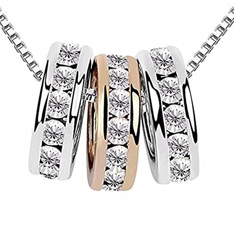 quadiva–Chaine avec pendentif 3ringe (couleur: Argent/Or Rose) décoré avec cristaux étincelants de Swarovski®