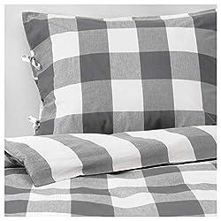 powerful IKEA Emilta King Duvet Cover  Pillow Case Green White 504.002.13