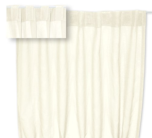 Voile Dekoschal Organza Gardine verdeckte Schlaufen Vorhang transparent Struktur ca. 140x245 cm #1220 (Creme Natur)