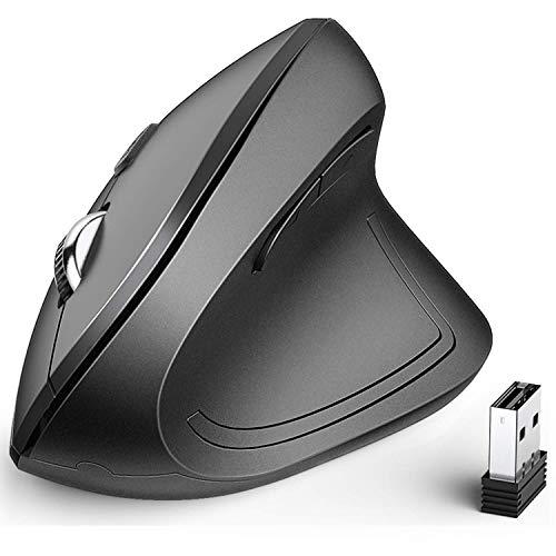 Vertikale Maus - iClever Ergonomische kabellose Maus mit 6 Tasten und 4 unterschiedlichen DPI-Zahlen: 1000/1600/2000/2400 DPI für Laptop, Computer, Desktop, Mac, Windows, MacOS