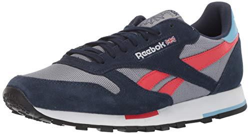 Reebok Herren Classic Leather Turnschuh, Cold Grey/Collegiate Navy/White/Primal Red/Blue/Black, 36.5 EU