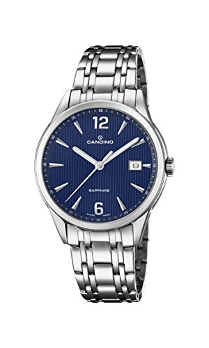 Candino Herren Datum klassisch Quarz Uhr mit Edelstahl Armband C4614/3