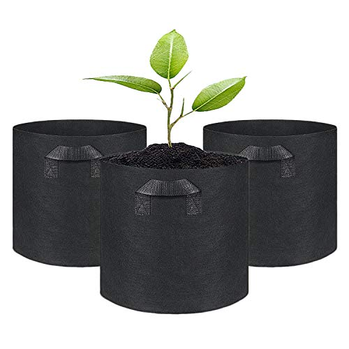 SunTrader 3-Pack 5 Gallon Grow Bags/Aeration Fabric Pots with Handles (5-Gallon(3-Pack), Black)