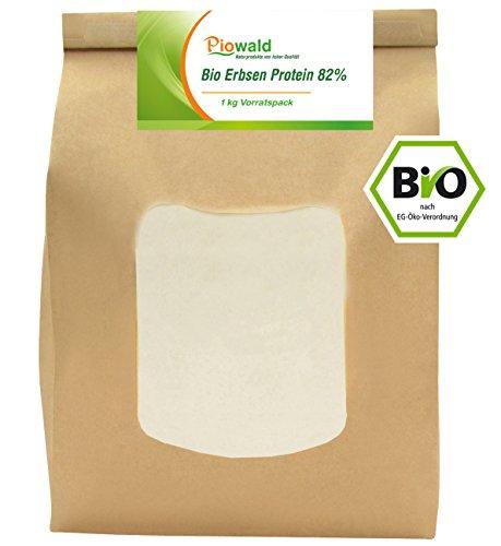 BIO Erbsenprotein 82{c9336411c5f501b732e76fda9ee7bc683f7bbb651829f369c37e33eee07a9034} - Isolat - 1 kg Pulver Vorratspack, Pflanzliches Eiweißpulver, Vegan