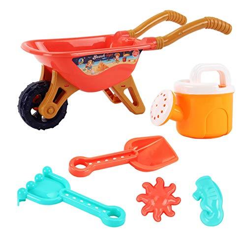 Xisimei Juego de herramientas de jardín para el jardín/playa con bolsa de herramientas de jardín, incluye regadera, guantes, pala, rastrillo, tenedor y bolsa de la compra, set de jardín para niños (A)