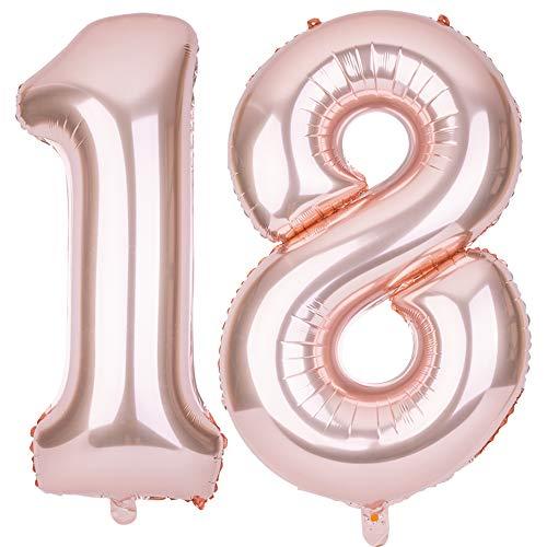 SMARCY Palloncini Gonfiabile Numero 18 Palloncini Compleanno 18 Anni Decorazioni Compleanno Oro Rosa