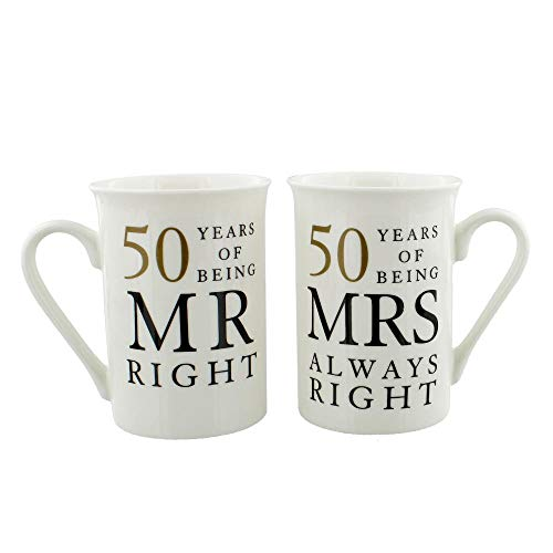 Ivory 50th Anniversary Mr Right & Mrs Always Right Mug Gift Set