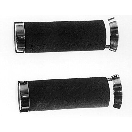 Poignées Moss en caoutchouc noir avec extrémités Chromé 22/22 135 mm en mousse Integral Vespa PK 50 va51t – Transmission automatique sans démarreur électronique 83–85