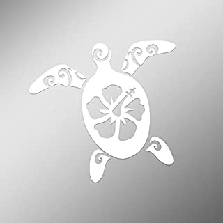 CMI DD499 Hibiscus Turtle Decal Sticker | 5.5-Inches by 5-Inches | Premium Quality White Vinyl