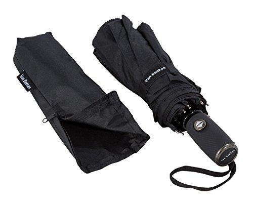 VAN BEEKEN Regenschirm sturmfest bis 140 km/h - Kleiner Leichter und kompakter Damen Herren Schirm mit Auf-Zu-Automatik - windsicherer Taschenschirm mit Tasche, Etui und Teflon-Beschichtung. Schwarz