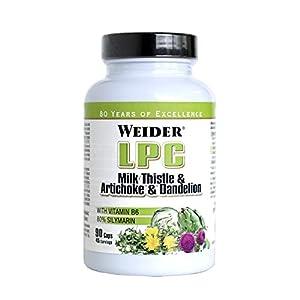 WeIder LPC 90 Cáps. Protector Hepático. Antioxidante. Cápsulas con Cardo Mariano (80% silimarina), Diente de Léon, Alcachofa y Vitamina B6.