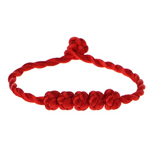 YO-HAPPY Bracelet Chain, Chinese Feng Shui Lucky Rope Strap Bracelet 5 Knotted Beads Red String Jewelry