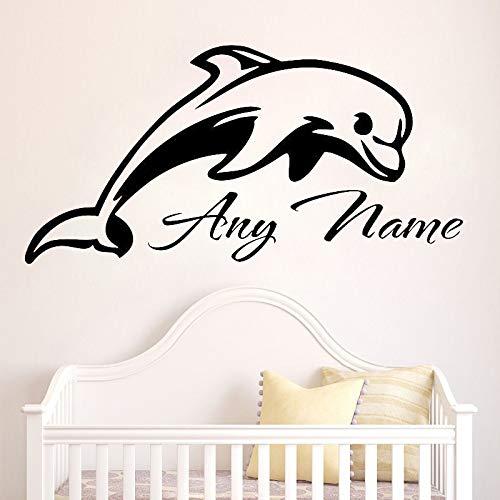 BailongXiao Benutzerdefinierte Name Delphin wandtattoo Kindergarten Tier Vinyl Aufkleber Kinder wasserdicht Kunst wandaufkleber Dekoration Schlafzimmer 50x100 cm