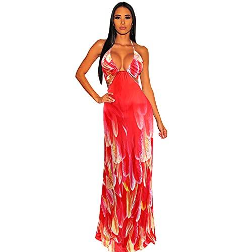 GAOHONGMEI Vestido largo de verano casual para mujer, con cuello en V, sin mangas, vestido de fiesta, para vacaciones, playa, color rojo