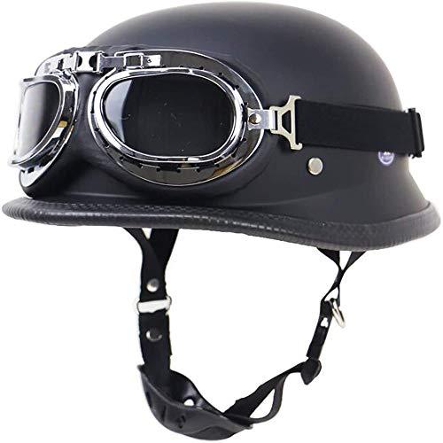 ZHXH Adult Motorcycle Open Face Halbhelm PU-Leder und mattschwarze Fliegerbrille Retro Jet Helm Cruiser Defense Army Helm DOT-zertifizierter Scooter Fahrrad Motorrad Halbhelm