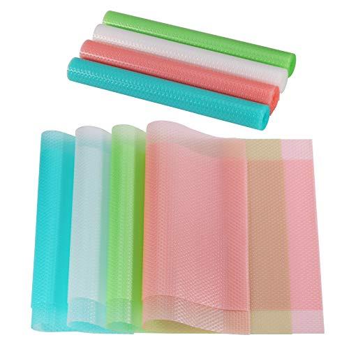 KWOKWEI 8er Kühlschrankmatten, Antibakterielle Kühlschrank Matte mit rutschfeste Oberfläche,Abwaschbar und Zuschneidbar Kühlschrankeinlage mit 4 Farben Kühlraum-Auflagen für Kühlschrank Küche
