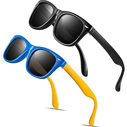 Baby Sunglasses Rubber Kids Polarized Sunglasses - FEIDU Fit Shades Glasses for Boys Girls toddler and Children Age 2-5 (2paxkblue+blaxk, 2paxkblue+blaxk) (2pack(black+yellow/black))