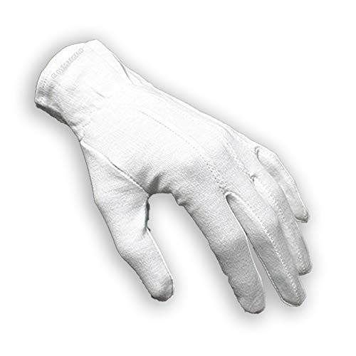 G & F Products 100% White Cotton Marching Band Parade Glove Formal Dress Gloves Service Gloves Inspection Gloves, Sold by Pair (2Piece), Size Large (7588L-pair)