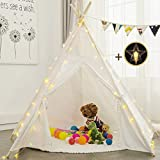 Sunnyglade 6' Teepee Kids Tent with 25FT Little Star Light and Cotton Mat /Children Indian Play Tent 5 Wooden Poles Canvas Tipi with Carry Bag & Random Color Flag Children's Day Gift