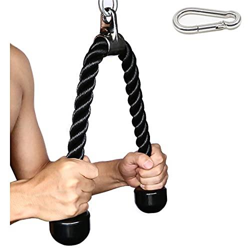 SYL Fitness Nylon Triceps Cuerda Triceps Polea Desplegable Manijas Antideslizantes con Extremos de Goma Maciza-Gimnasio o Hogar (Negro)