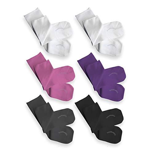SmartKnitKIDS Seamless Sensitivity Socks - 6 Pack (Pink, Purple, Black, Charcoal & (2) White, XX-Large)