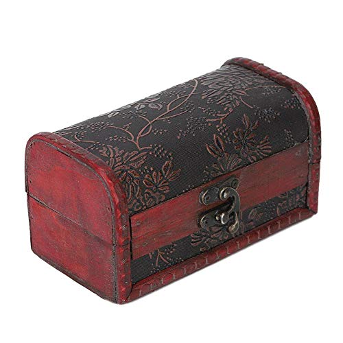 Elegante joyero hecho a mano exquisito duradero, caja de madera vintage impresa en cuero PU, aretes para almacenar cables de auriculares, joyería de la tienda