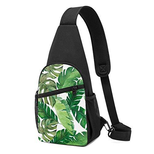 DJNGN Bolso bandolera liviano Ilustración de acuarela transparente de hojas tropicales Densa Jungle Paquete de pecho para hombres Uso diario Bolso casual para exteriores Parques Compras Viajes