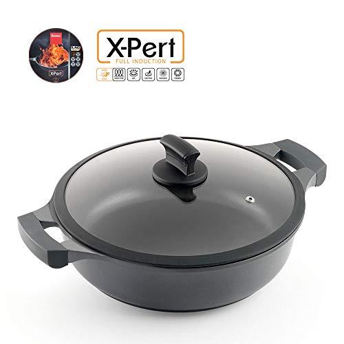 Metaltex XPERT Cacerola Baja Antiadherente Ilag 3 Capas, Full Induction Válido para Todo Tipo de Cocinas, Aluminio Fundido