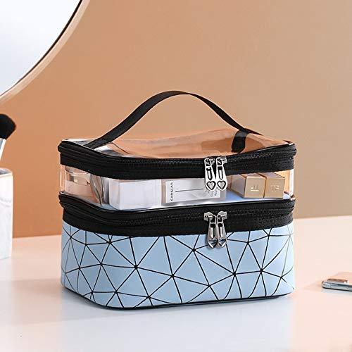 Double Couche Multifonction Sac cosmétique Voyage Femmes Maquillage Sacs de Toilette Organisateur Femelles Waterproof Stockage Make Up Casesa (Color : Sky Blue)