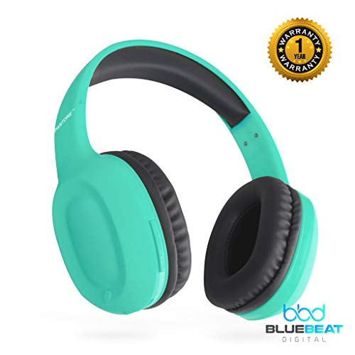 Limited Edition Bluetooth Wireless HiFi Headphones by Blue Beat Digital, Lightweight Over-Ear Stereo Headset with Noise Reduction, Ultra-Comfort Soft Memory Earpads, 8 Hr Battery Life [Turquoise Mint]