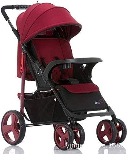 DAGCOT 3 in 1 passeggino passeggino bambino Passeggino paesaggio di alta bambini carrozzina passeggini viaggio sistema zanzariera Bottle Holder yangmi pieghevole (Color : Red)