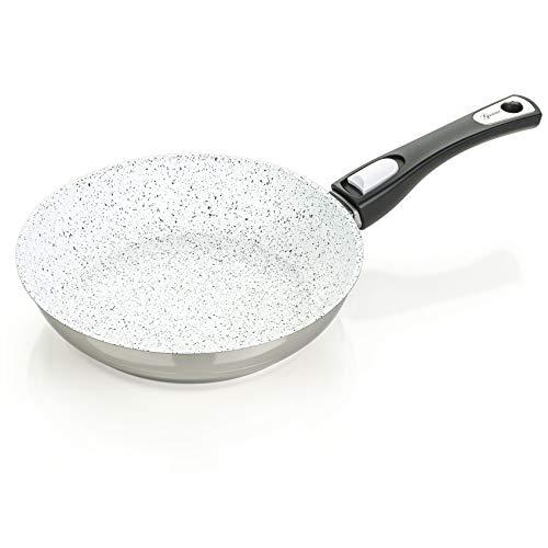 Genius Cerafit Mont Blanc Brat-Pfanne Edelstahl-Pfanne Ø 20 cm mit abnehmbarem Griff und Antihaft-Beschichtung - gesundes Kochen ohne Öl für alle Herdarten