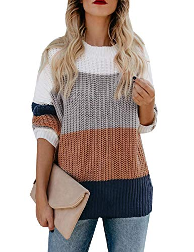 cordat Womens Casual Crew Neck Color Block Sweater Long Sleeve Knit Pullover Jumper...