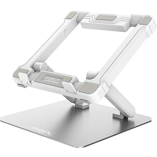 PAIPU ノートパソコンスタンド パソコンスタンド PCスタンド 無段階高さ調整可能 姿勢改善 折りたたみ式 滑り止め アルミ合金製 優れた放熱性 耐重35kg Macbook Air/Macbook Pro/iPad Pro/Notebooks/タブレットなど9.7-17.3インチまでに対応 仕事用 オフィス用 在宅用(シルバ-)