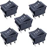TWTADE / 5Pcs Black ON/Off/ON DPDT 6 Pin 3 Position Mini Boat Rocker Switch Car Auto Boat Rocker Toggle Switch Snap AC 250V 125V/20A XW-604AB3