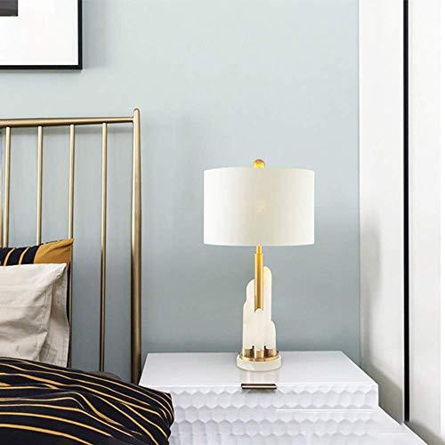Diseño Personalizado Post-moderna ligera de mármol de lujo Cuerpo de lino Pantalla Lámpara de mesa / / dormitorio de noche Escritorio de gama alta tendencia de iluminación 38 * 67cm Classic Noble Croc