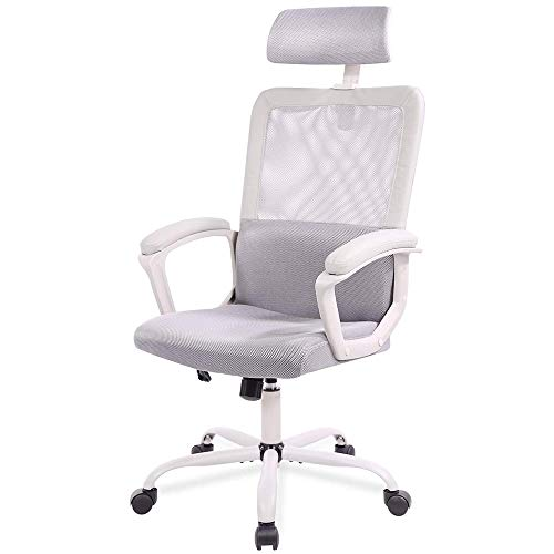 Office Chair High Back Computer Headrest Desk Chair, Business Ergonomic Cushion Lumbar Support Comfortable Mesh Racing Seat Adjustable Swivel Rolling, Grey