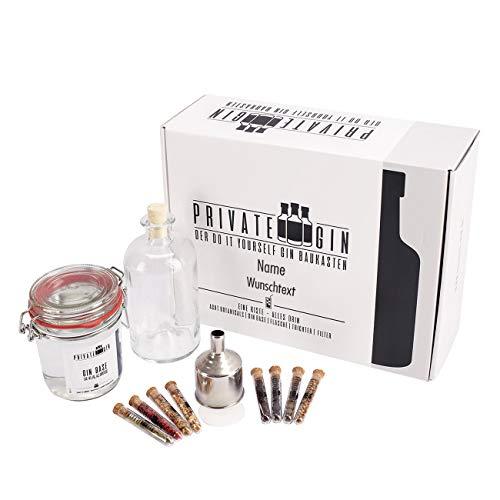 Herz & Heim® Gin DIY Baukasten Set mit Gin-Base, Botanicals, Filter und Flasche in personalisierter Geschenkbox