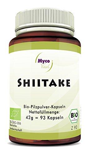 Shiitake Kapseln | 93 Pilzpulver-Kapseln je 450mg Bio Shiitake Pulver | 100% Veganes Bio Superfood | Natürliche Alternative zu Shiitake Extrakt