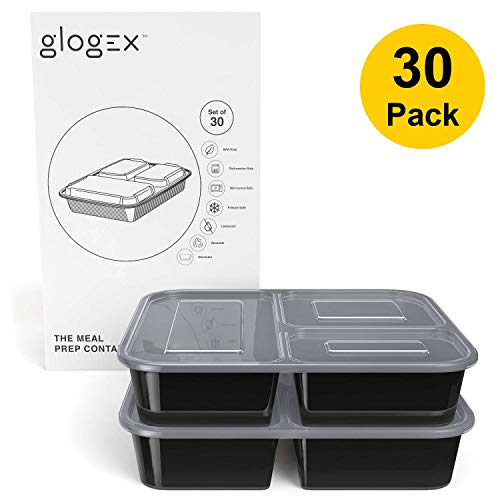 Glogex [30 Pack] Meal Prep Containers 3 Compartment Bento Box - Leakproof - Reusable - Microwave, Dishwasher, Freezer Safe - BPA-free