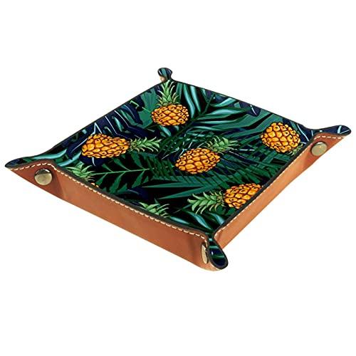 Bandeja de cuero,fruta de la hoja de palma ,Bandeja de cuero plegable para reloj de joyería de monedas de llave de...