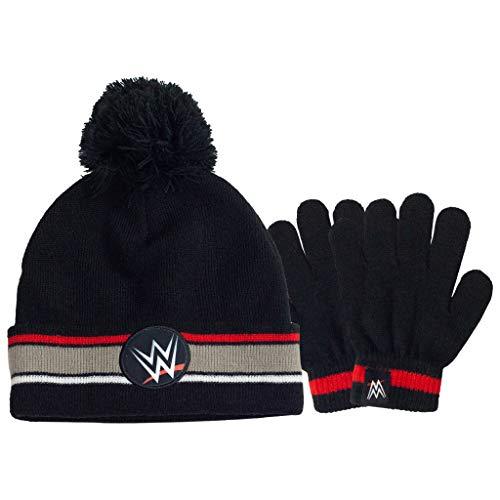 Popgear WWE Logo Junge Mütze und Handschuhe Set Beanie and Gloves-Juego de Gorro y Guantes, Negro, Talla única para Niños