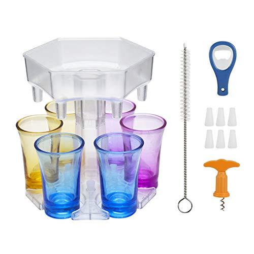 Wopam 6 Shot Glass Dispenser and Holder Dispenser For Filling Liquids Shots Dispenser Multiple 6 Shot Dispenser with Cup Set