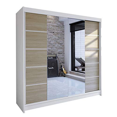 Mirjan24 Kleiderschrank Talin V, Schwebetürenschrank, Garderobenschrank mit Kleiderstange und Einlegeboden, Schlafzimmerschrank, Dielenschrank (Weiß/Sonoma Eiche + Spiegel, ohne Beleuchtung)