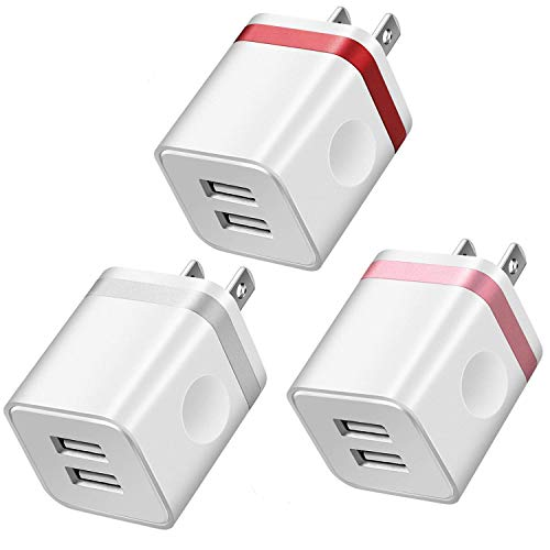 LEEKOTECH USB Wall Charger, [UL Certified] 2.1A/5V USB Plug Dual Port Power Adapter Charging Block Cube Compatible with Phone XS/XR/XS MAX/X/8/7/6S Plus, Samsung Galaxy S6 S7 Edge, More Phones(3-Pack)